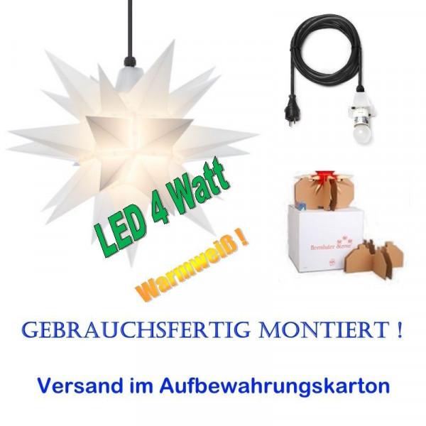 Herrnhuter Adventsstern Außenstern 40 cm Opal mit LED+ 5m Zuleitung gebrauchsfertig montiert im Aufbewahrungskarton