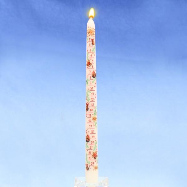 Adventskalender-Spitzkerze weiß mit Abziehbild 29 cm