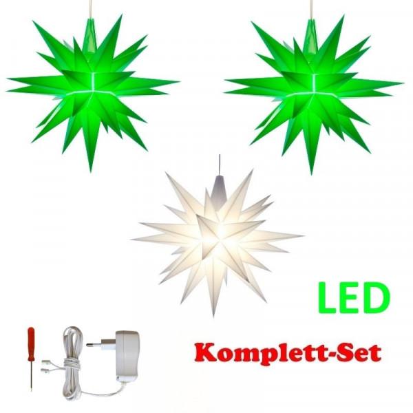 Herrnhuter Adventsstern Komplettset 3 Stück A1E mit Netzteil Farben grün, weiß, grün mit Netzgerät 500 mA