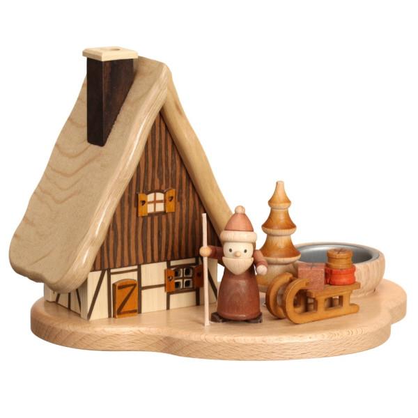 Räucherhaus auf Sockel mit Weihnachtsmann und Sack