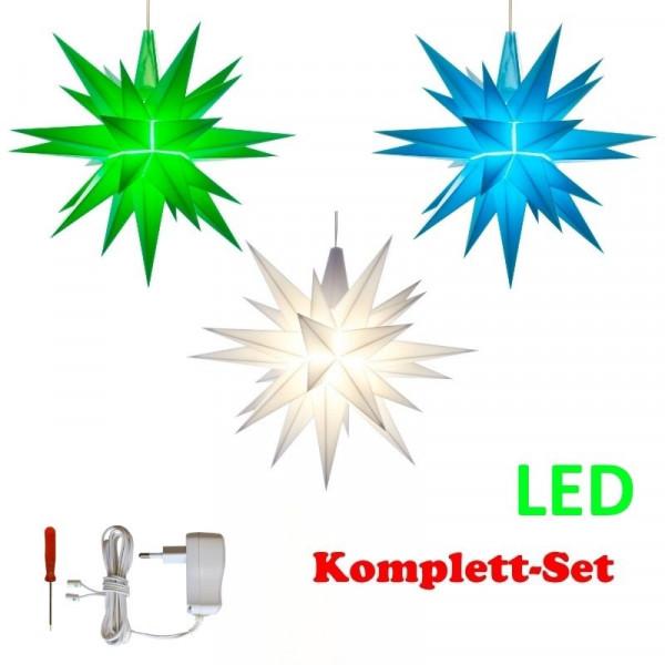 Herrnhuter Adventsstern Komplettset 3 Stück A1E mit Netzteil Farben grün, weiß, blau mit Netzgerät 500 mA