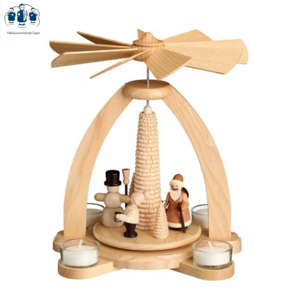 Tischpyramide Teelichtpyramide Winter mit Ringelbaum