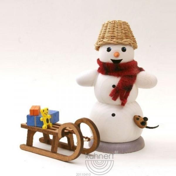 Räucherfigur Schneemann mit Schlitten und Maus