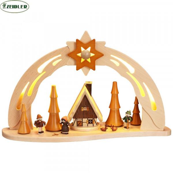 LED Sternbogen, Buche natur, mit Räucherhaus und Waldfiguren
