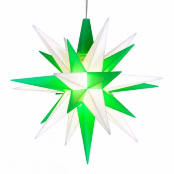 Herrnhuter Adventsstern Kunststoff 13 cm Weiß-Grün mit LED !