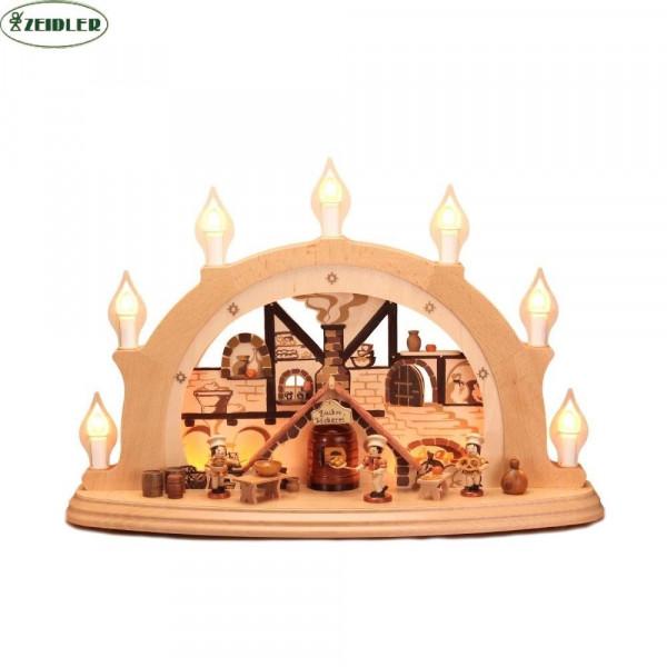 """Schwibbogen """"Weihnachtsbäckerei"""" - elektrisch, 7 Kerzen"""