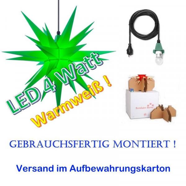 Herrnhuter Adventsstern Außenstern 68 cm Grün mit LED + 5m Zuleitung gebrauchsfertig montiert im Aufbewahrungskarton