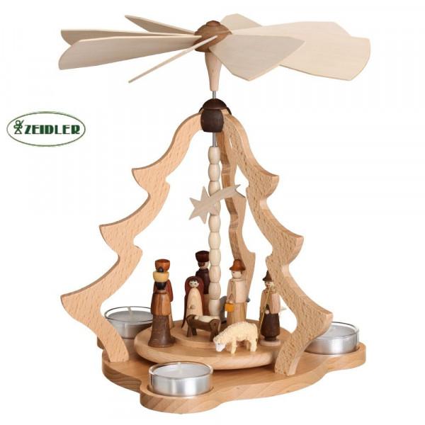 Tischpyramide natur mit Christi Geburt für 3 Teelichter