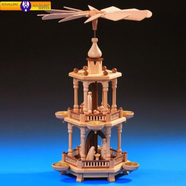 Pyramide natur 2-stöckig, Christi Geburt natur, 51 cm