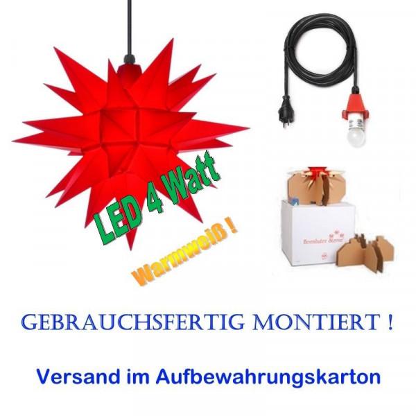 Herrnhuter Adventsstern Außenstern 40 cm Rot mit LED+ 5m Zuleitung gebrauchsfertig montiert im Aufbewahrungskarton