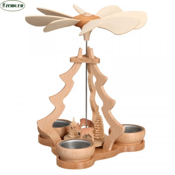Tischpyramide klein natur, mit Rehen für 3 Teelichter