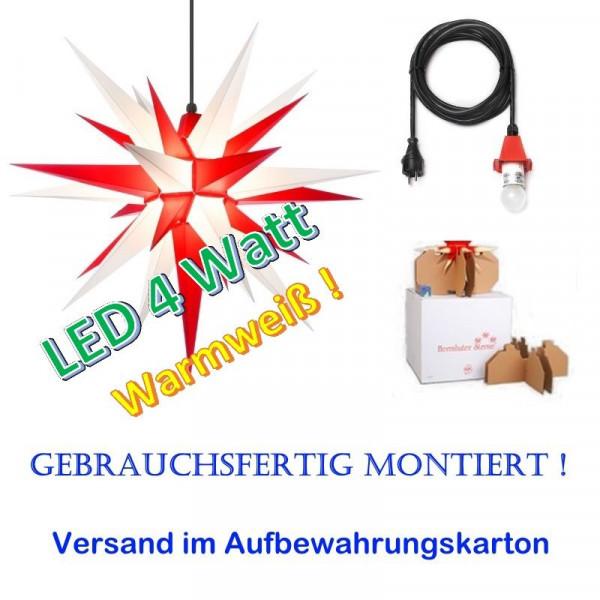 Herrnhuter Adventsstern Außenstern 68 cm Weiß-Rot mit LED u. 5m Zuleitung gebrauchsfertig montiert im Aufbewahrungskarton