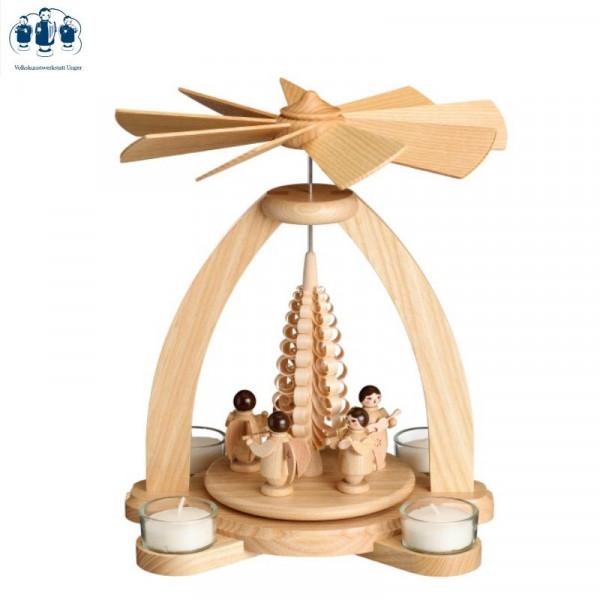 Tischpyramide Teelichtpyramide Engel natur mit Spanbaum
