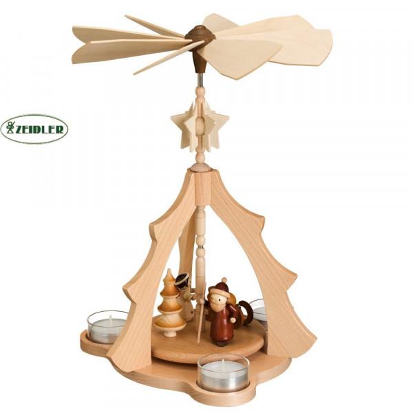 """Tannenpyramide """"Weihnachtsmann mit Engel"""" für 3 Teelichter"""