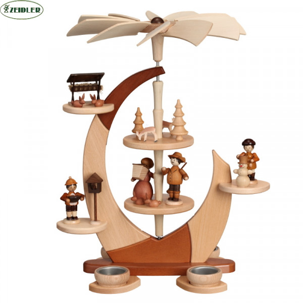 """Designpyramide """"Segel"""" klein mit Waldfiguren"""