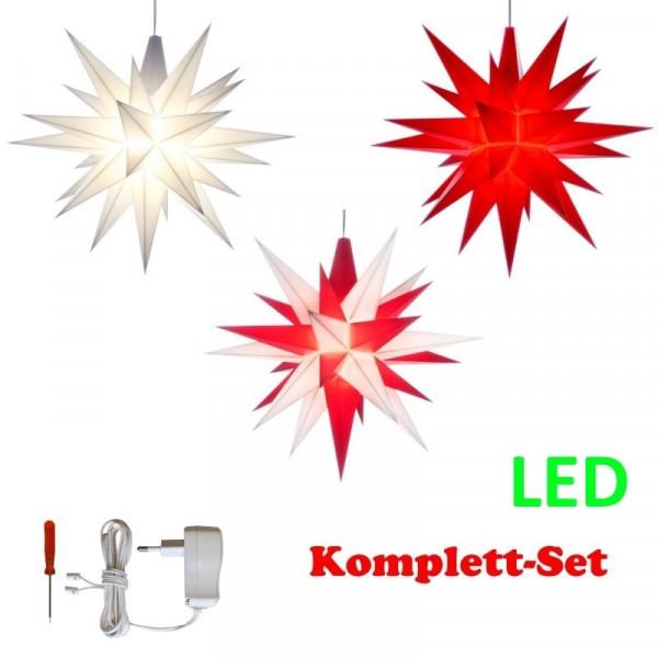 Herrnhuter Adventsstern Komplettset 3 Stück A1E mit Netzteil Farben weiß, weiß-rot, rot mit Netzgerät 500 mA