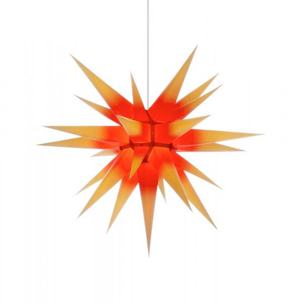Herrnhuter Adventsstern I7, 70 cm Gelb mit rotem Kern