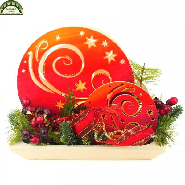 Romantikleuchte, Kugeldeko, floristisch bestückt rot bemalt