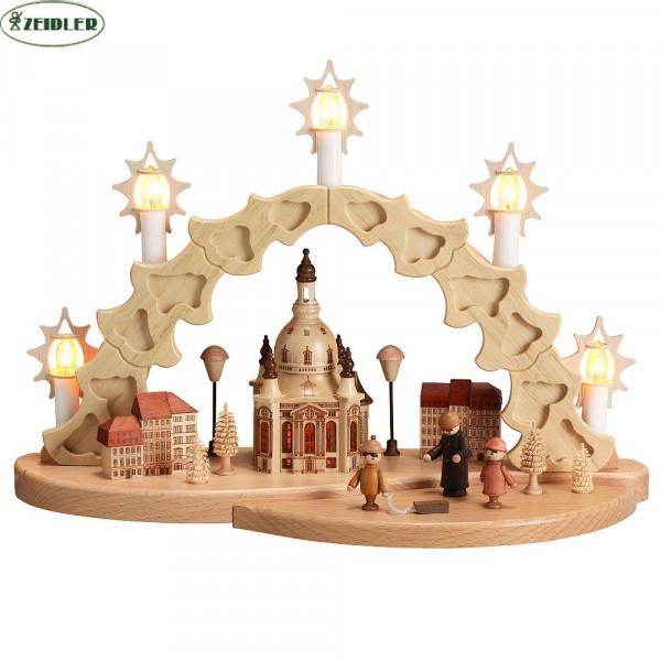 "Schwibbogen""Dresdner Frauenkirche""5 Kerzen, innen beleuchtet"