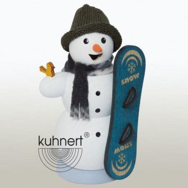 Räucherfigur Schneemann mit Snowboard
