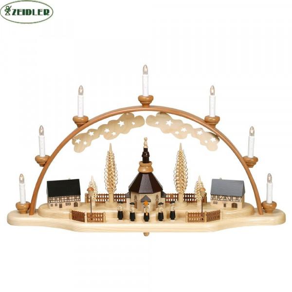 Seiffener Kirche mit Kurrende schwarz, bel. mit 7 Kerzen