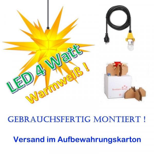 Herrnhuter Adventsstern Außenstern 68 cm Gelb mit LED + 5m Zuleitung gebrauchsfertig montiert im Aufbewahrungskarton