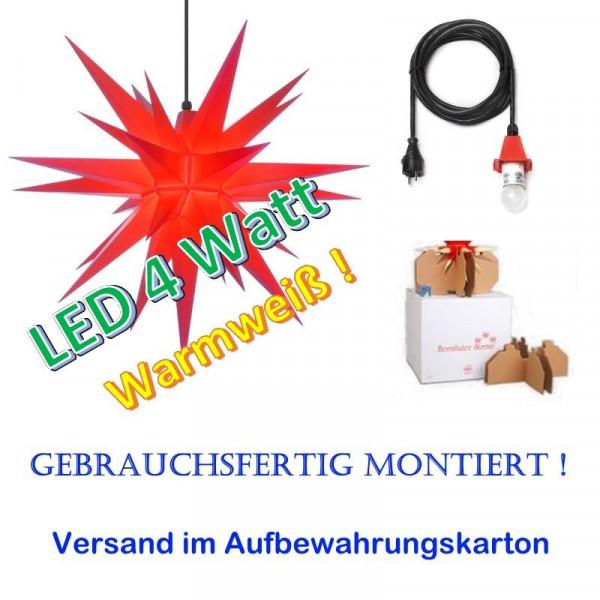 Herrnhuter Adventsstern Außenstern 68 cm Rot mit LED und 5 m Zuleitung gebrauchsfertig montiert im Aufbewahrungskarton
