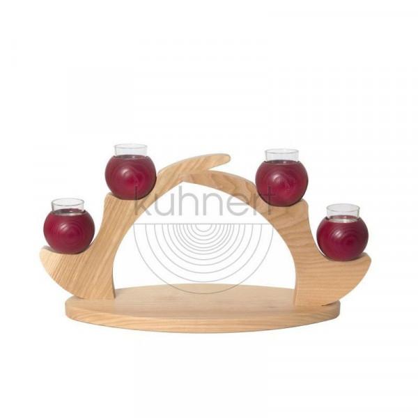 Tischleuchter mit 4 Kerzen Rot