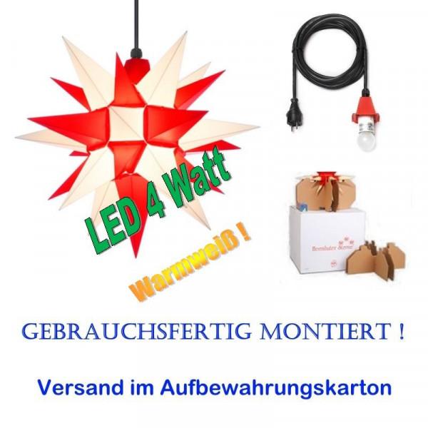 Herrnhuter Adventsstern Außenstern 40 cm Weiß-Rot mit LED+ 5m Zuleitung gebrauchsfertig montiert im Aufbewahrungskarton