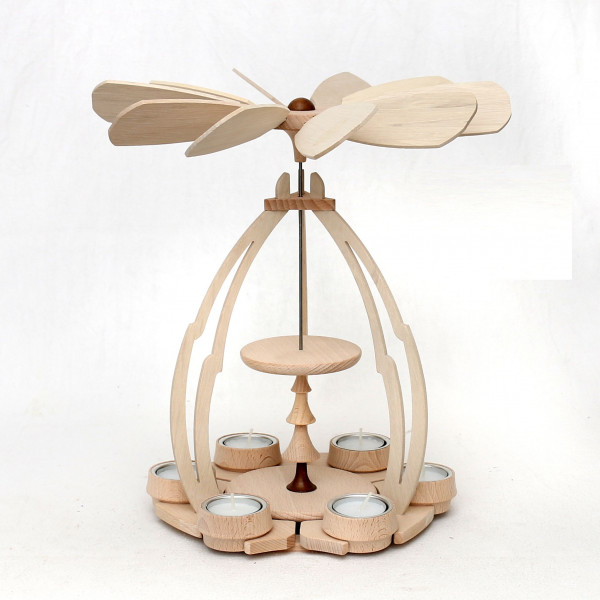 Teelicht-Holz-Tischpyramide leer zum Selberbestücken