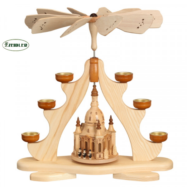 Pyramide mit großer Dresdener Frauenkirche, für 6 Teelichter