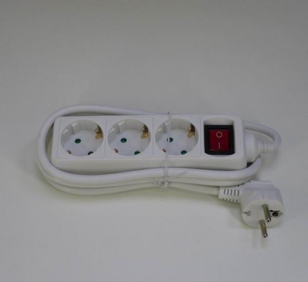 Schuko-Verteiler 3fach mit beleuchtetem Schalter weiß