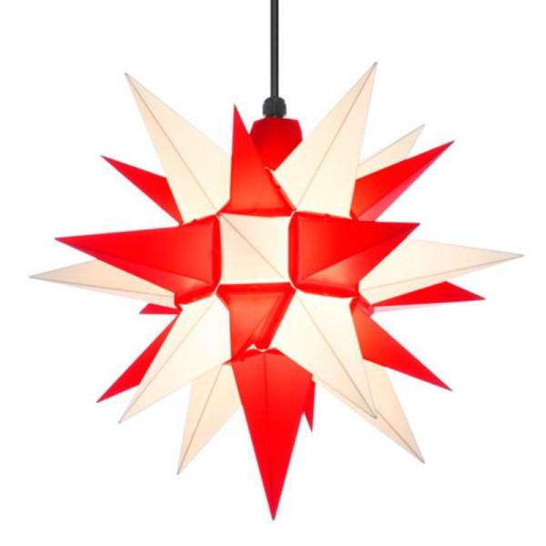 Herrnhuter Adventsstern Außenstern 40 cm Weiß-Rot Kunststoffstern für Außen- und Innenbereich geeignet