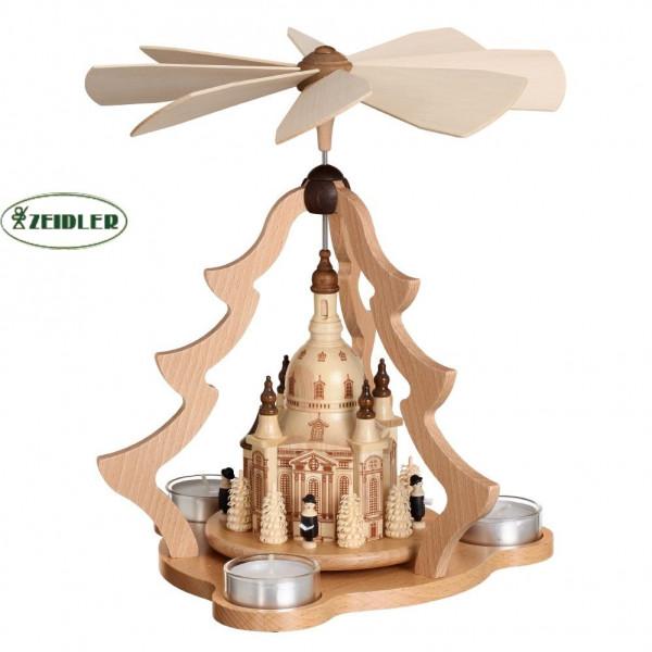 Tischpyramide natur, Dresdner Frauenkirche für 3 Teelichter