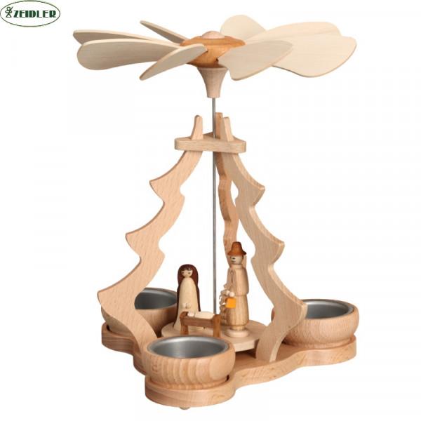 Tischpyramide klein natur, Christi Geburt für 3 Teelichter