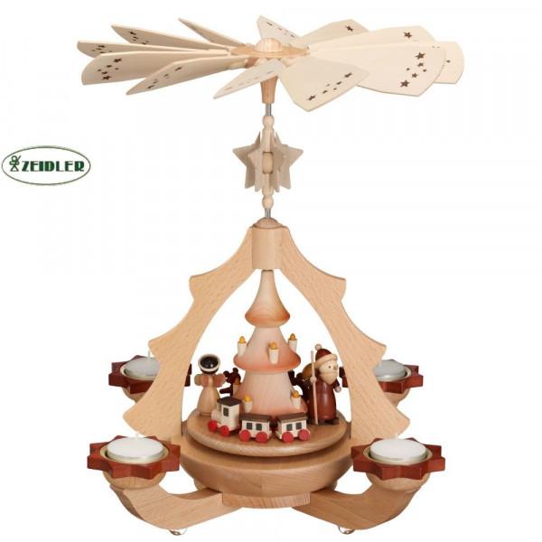 Leuchteryramide - natur - Bescherung für 4 Teelichter