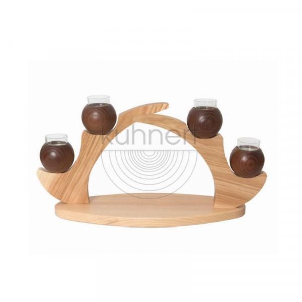 Tischleuchter mit 4 Kerzen Braun