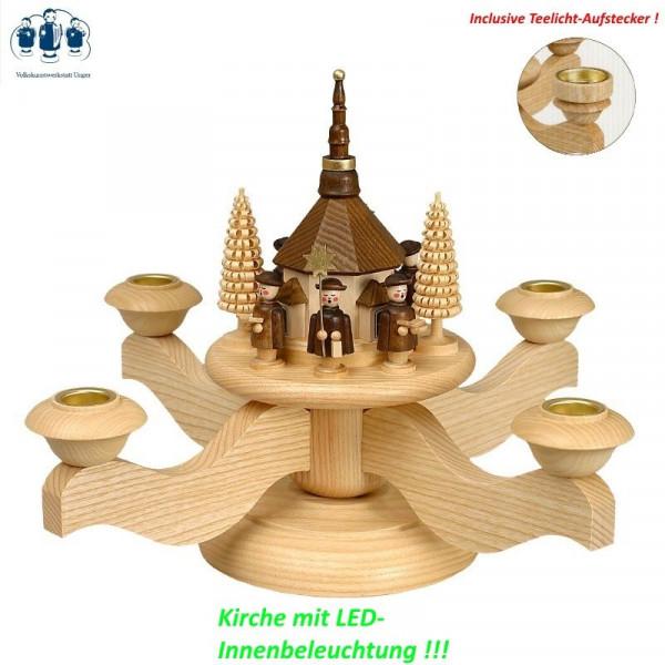 Adventsleuchter Seiffener Kirche mit Kurrende und LED Volkskunstwerkstatt Unger