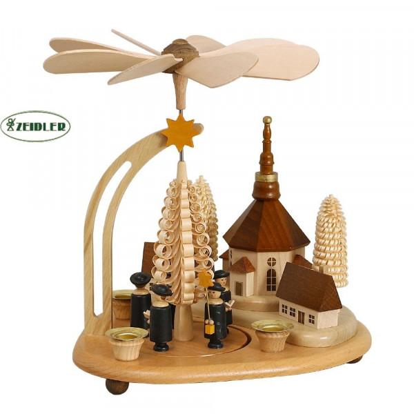 Tischpyramide mit Seiffener Dorf und Kurrende dunkel und