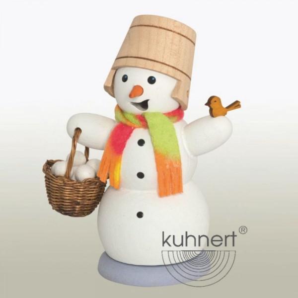Räucherfigur Schneemann mit Schneeballkorb