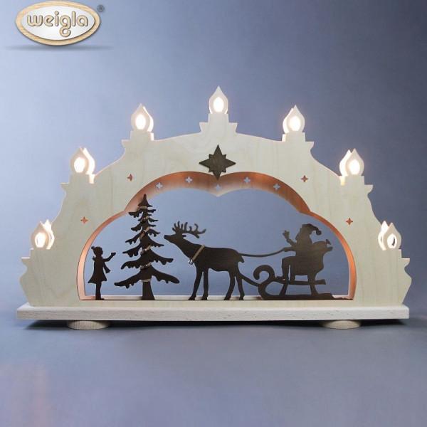 Schwibbogen 7 flammig Weihnachtsmann auf Schlitten Rustikal