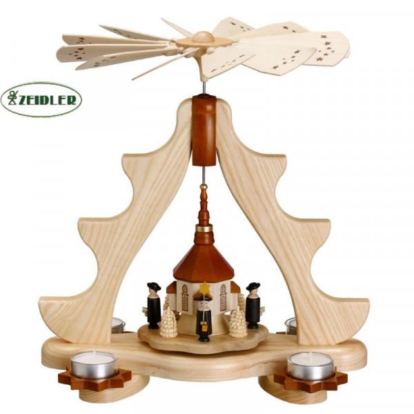 Teelichtpyramide Seiffener Kirche mit Kurrende und Bäumchen