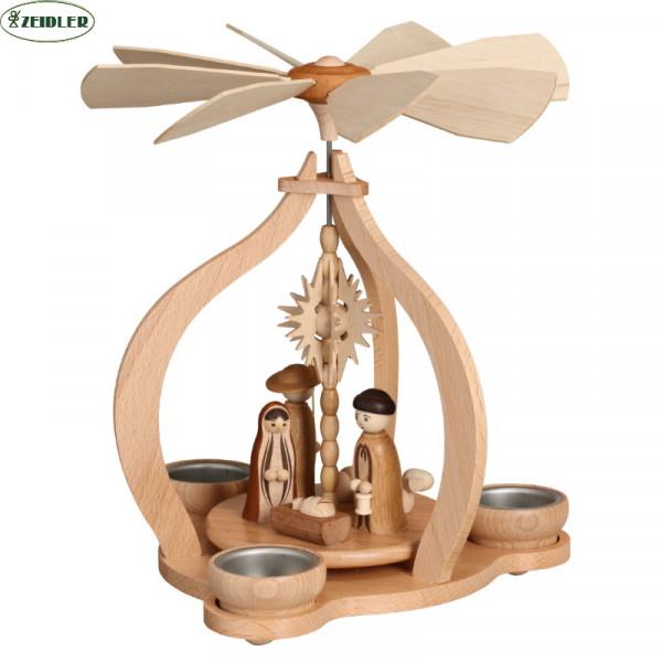 Tischpyramide - natur, Christi Geburt, für 3 Teelichter