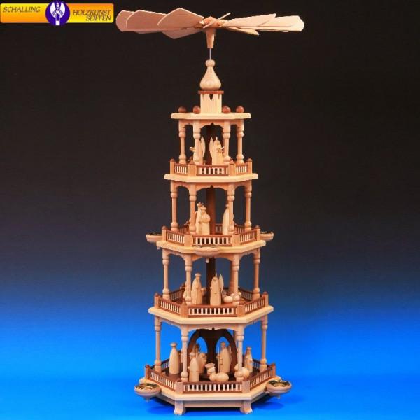 Pyramide natur 4-stöckig, Christi Geburt natur, 80 cm