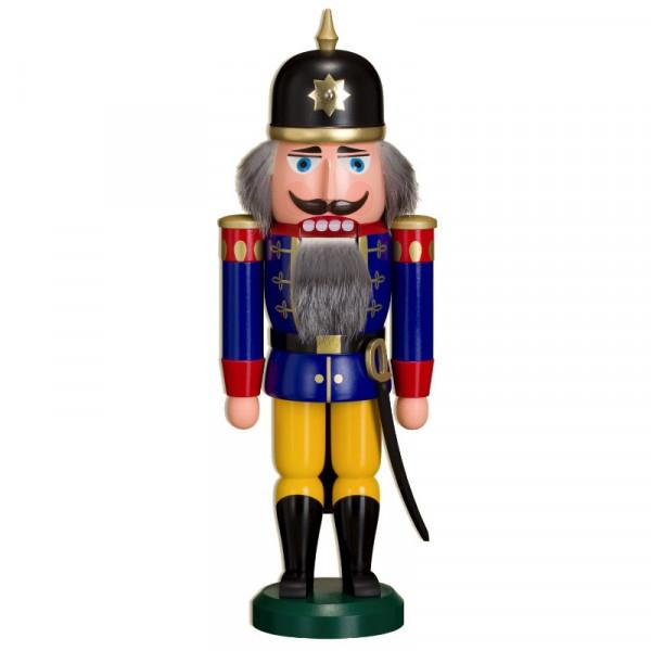 "Nußknacker ""Soldat"" 37 cm blau Seiffener Volkskunst e.G. - Original Erzgebirge"