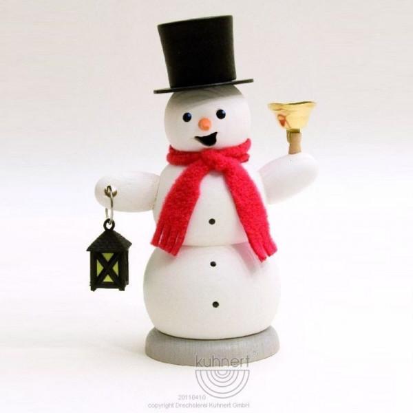 Räucherfigur Schneemann mit Laterne und Glocke