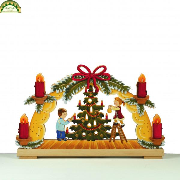 3D-Schwibbogen klein, Weihnachtsfest, handbemalt, winterlich