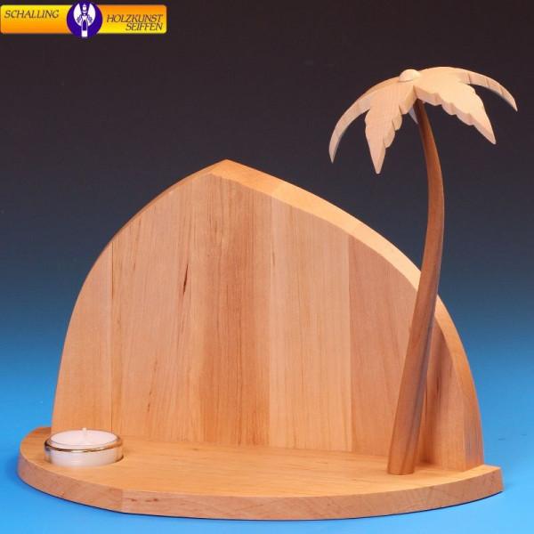 Fels mit Teelicht und Palme, 23 cm