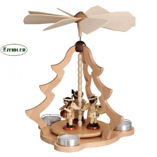 Tischpyramide mittel natur, mit 3 Engeln für 3 Teelichter
