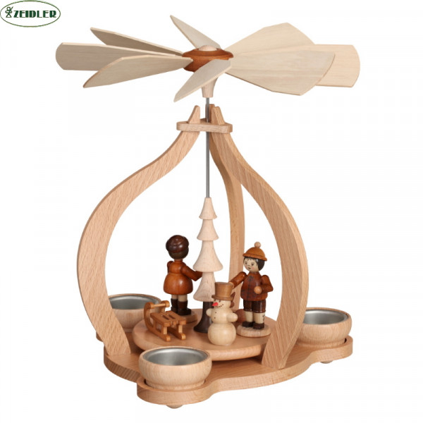 Tischpyramide - natur, Winterkinder, für 3 Teelichter